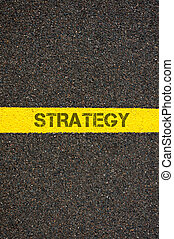 Road marking yellow line with word RECOVERY - Road marking...