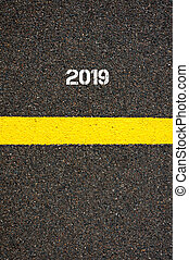 Road marking yellow line year 2019 - Road marking yellow...