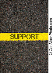 Road marking yellow line with word SUPPORT - Road marking...