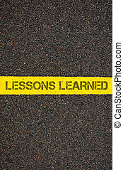 Road marking yellow line words LESSONS LEARNED - Road...