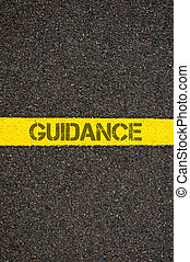 Road marking yellow line with word GUIDANCE - Road marking...