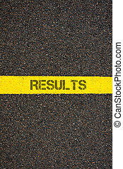 Road marking yellow line with word RESULTS - Road marking...