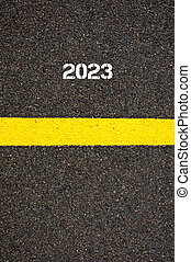 Road marking yellow line year 2023 - Road marking yellow...