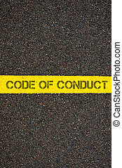 Road marking yellow line with words CODE OF CONDUCT - Road...