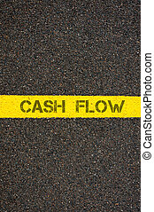 Road marking yellow line with words CASH FLOW - Road marking...