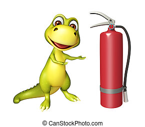 Dinosaur cartoon character with fire extinguisher - 3d...