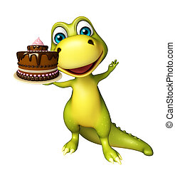 Dinosaur cartoon character with cake - 3d rendered...