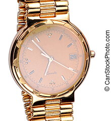 gold plated watches isolated