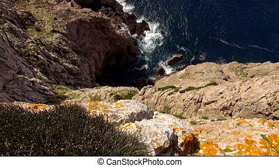 The Colorful Cliff line of Mallorca at the Mediterranean sea