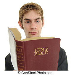 Young adult Reads Bible