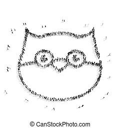 people  shape  owl cartoon