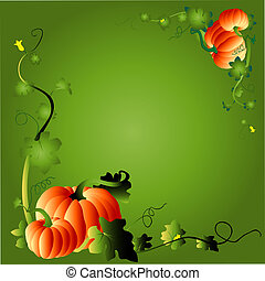 pumpkin & foliage frame - thanks giving pumpkins, vector...