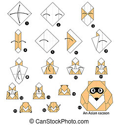 origami An Asian raccoon - step by step instructions how to...