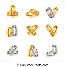 Rings Set Made of Silver and Gold Vector illustration