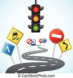 Concept of Road with Traffic Lights. Vector