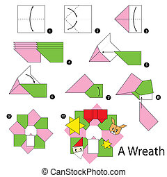 origami Christmas wreath - step by step instructions how to...
