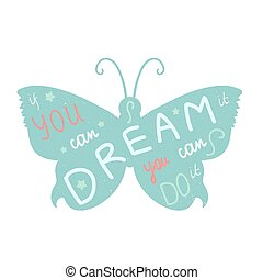 Print - Lettering motivation poster Quote about dream and...