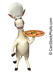 Donkey cartoon character with pizza and chef hat - 3d...