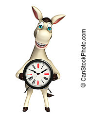 Donkey cartoon character with clock - 3d rendered...