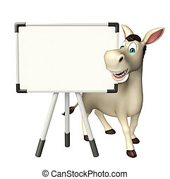 cute Donkey cartoon character with white board - 3d rendered...
