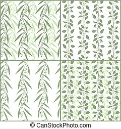 Set of seamless pattern branches of eucalyptus and Camphor...