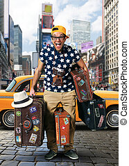 Tourist on vacation with a luggage in USA