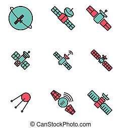 Vector line orbit satellite icons set Orbit Satellite Icon...