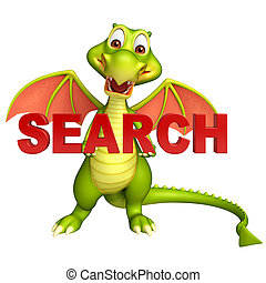 fun Dragon cartoon character with search sign - 3d rendered...