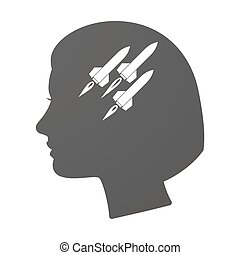 Isoalted female head icon with missiles - Illustration of an...