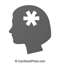 Isoalted female head icon with an asterisk - Illustration of...