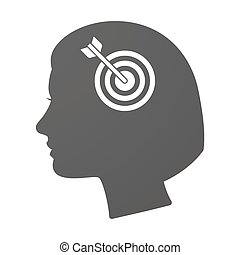 Isoalted female head icon with a dart board - Illustration...