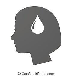 Isoalted female head icon with a fuel drop