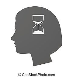 Isoalted female head icon with a sand clock