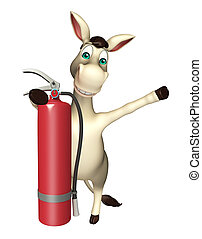 Donkey cartoon character with fire extinguisher - 3d...