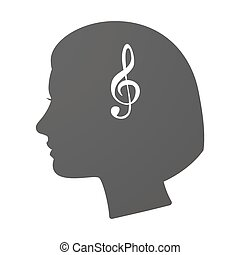 Isoalted female head icon with a g clef - Illustration of an...
