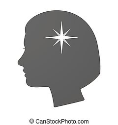 Isoalted female head icon with a sparkle