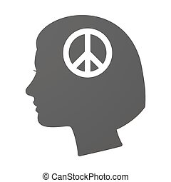 Isoalted female head icon with a peace sign - Illustration...