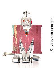 letter M - robot holding M