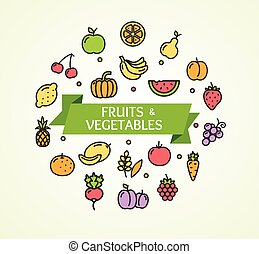 Fruits and Vegetables Concept. Vector