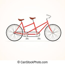 Vintage Tandem Bicycle. Vector - Red Vintage Tandem Bicycle...