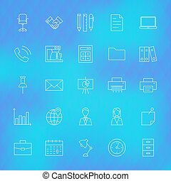 Business Office Line Icons Set over Polygonal Background....