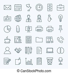 Line Business Office Icons Set