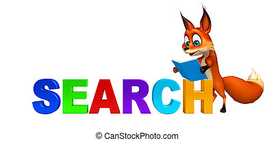fun Fox cartoon character with search sign - 3d rendered...