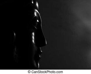 budda mask black and white