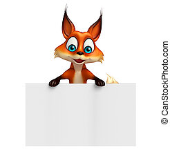 cute Fox cartoon character with white board - 3d rendered...