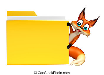 Fox cartoon character with folder - 3d rendered illustration...
