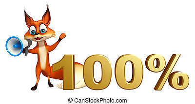fun Fox cartoon character with loudspeaker and 100% sign
