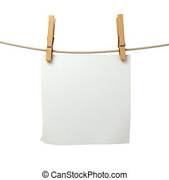 a piece of white paper attached to a rope clothespin