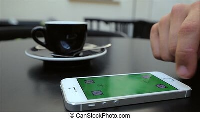 Green screen to scroll through web pages on the phone in...