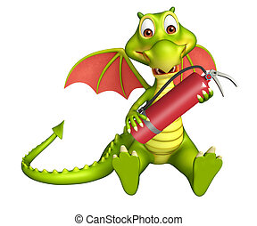 Dragon cartoon character with fire extinguisher - 3d...